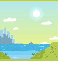 cityscape view with sea background city landscape vector image