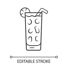 Cocktail in highball glass linear icon summer icy vector