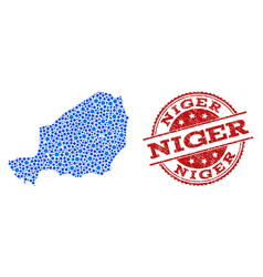 Collage map of niger with linked dots and vector