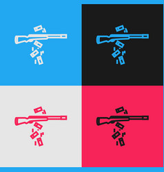 Color line gun shooting icon isolated on color vector