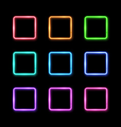 colorful square frames set on black background vector image