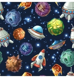 Comic space planets and spaceships vector