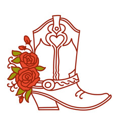 cowboy boot with red roses decoration outline vector image
