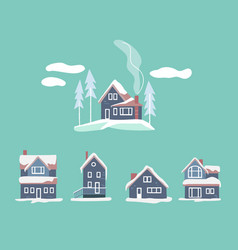 cozy winter houses set snowy landscape vector image