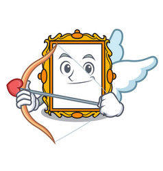 cupid picture frame character cartoon vector image