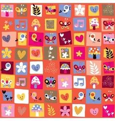 Cute flowers birds hearts pattern 6 vector