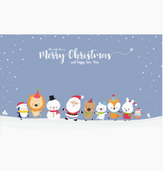 cute santa snowman with animal cartoon hand in vector image
