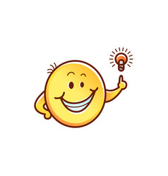 cute smiley having idea or solution of problem vector image