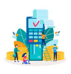 Debit credit card into pos point of sales terminal vector