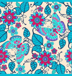 decorative hand drawn background with floral vector image