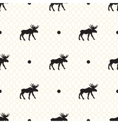 Deer seamless pattern with retro dots vector image