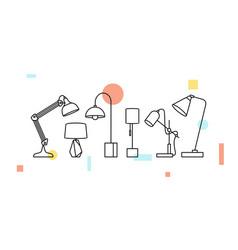 desk table lamp icon outline line art decor vector image