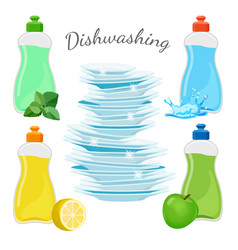 Dishwashing means with aromas and clean shiny vector