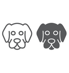 Dog line and glyph icon animal and zoo vector