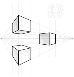 Drawing of a cube vector