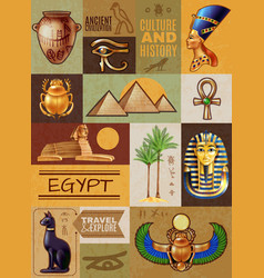 egypt symbols poster vector image