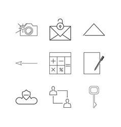 essential linear icon set simple outline icons vector image