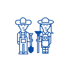 farmerswoman and man with tools line icon concept vector image