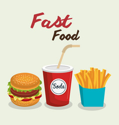 Fast food burger design isolated vector
