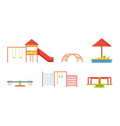 flat set of equipment for children playground vector image