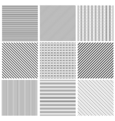 Geometric line pattern set Parallel streep black vector