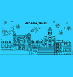 Georgia tbilisi winter holidays skyline merry vector