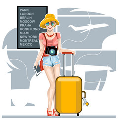Girl tourist with a suitcase at airport vector