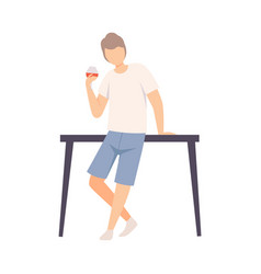 Guy in casual style clothes leaned on table and vector