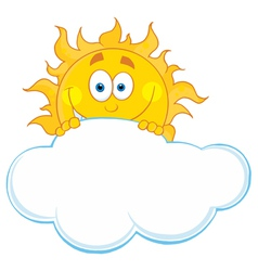 Happy sun hiding behind cloud vector