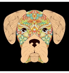 head of dog on black background vector image