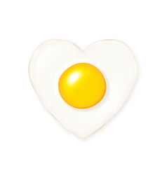 Heart-shaped fried egg vector