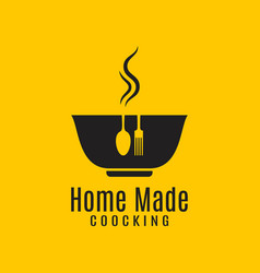 home cooking logo on yellow in background vector image