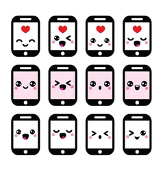 Japanese cute Kawaii character - phone icons vector image