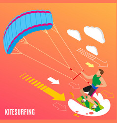 kite surfing isometric background vector image