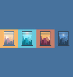 landscape in window city view from home morning vector image