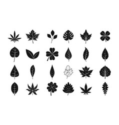 leaf icon set simple style vector image