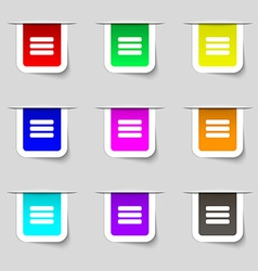 List menu Content view options icon sign Set of vector image