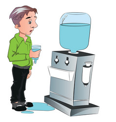 Man drinking water from cooler vector