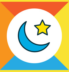 Moon with star icon colored line symbol premium vector