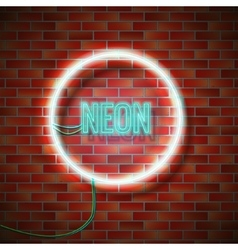 Neon sign on wall vector image vector image