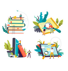 online library service book piles and tablet or vector image