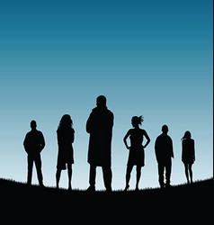 people silhouette in nature color vector image