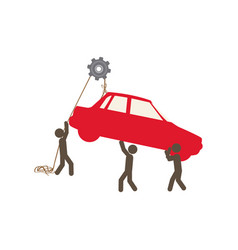 People with pulleys hanging the car vector