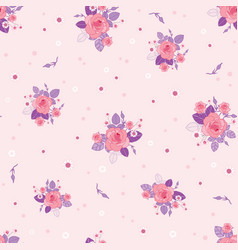 pink purple roses ditsy vintage seamless pattern vector image