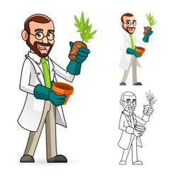 Plant Scientist Inspecting The Roots of a Plant vector
