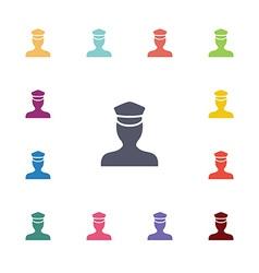 policeman flat icons set vector image