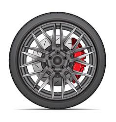 Realistic wheel alloy tire radial break disk vector