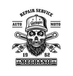 Repair service emblem with mechanic skull vector