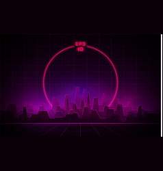 retrowave night city with laser grid and big neon vector image