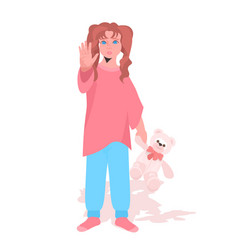 scared terrified child with teddy bear stop family vector image